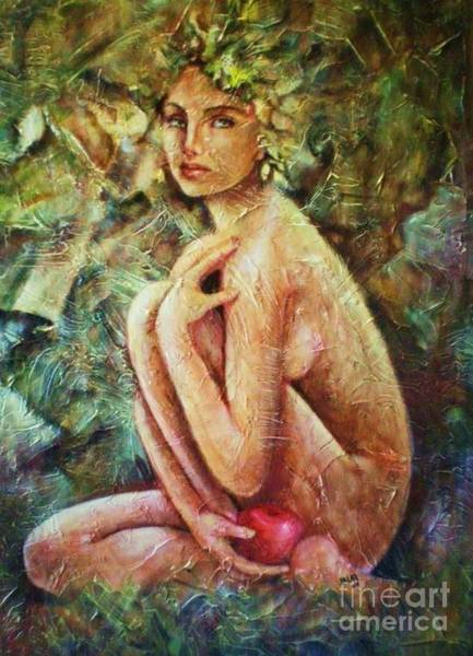 Manzana Wall Art - Painting - Eva Cielo by Jesus Alberto Arbelaez Arce