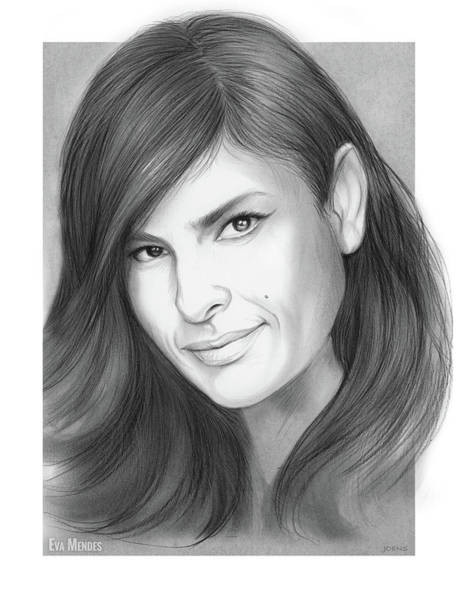 Actress Drawing - Eva Mendes by Greg Joens