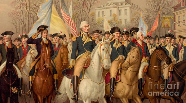 Battery Park Wall Art - Painting - Evacuation Day And Washington's Triumphal Entry In New York City by American School