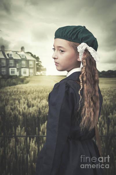 Beret Photograph - Evacuee Girl by Amanda Elwell