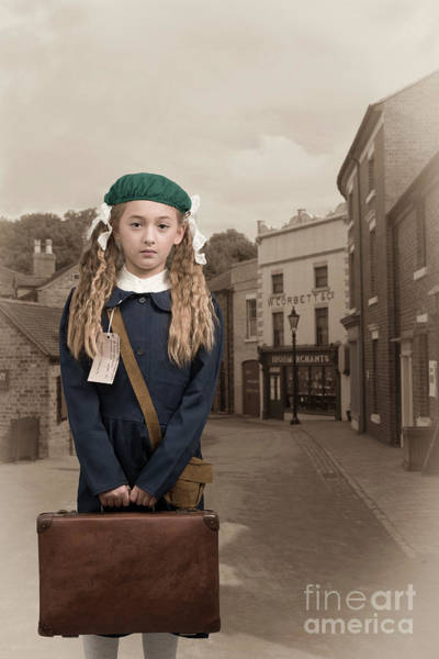 Beret Photograph - Evacuee Girl With Suitcase by Amanda Elwell