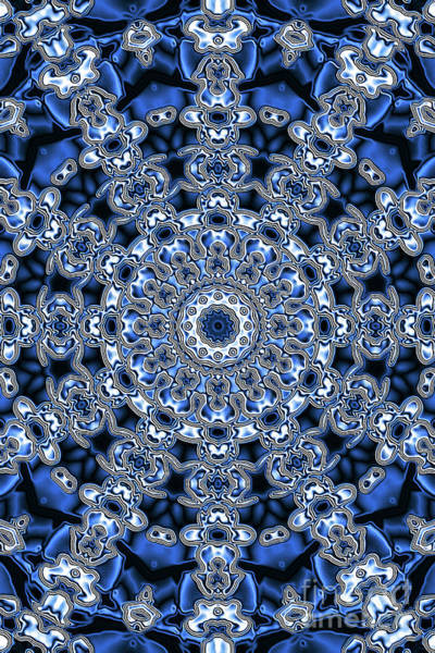 Digital Art - Evans Cherry Blue Star Kaleidoscope by Donna L Munro