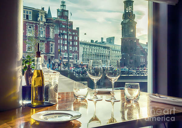 Photograph - evening Amsterdam from restaurant by Ariadna De Raadt