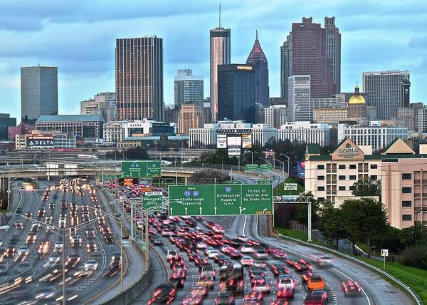 I-75 Photograph - Evening Approaches Atlanta by Frozen in Time Fine Art Photography
