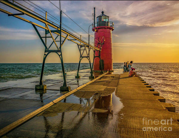 Photograph - Evening At South Haven Light by Nick Zelinsky