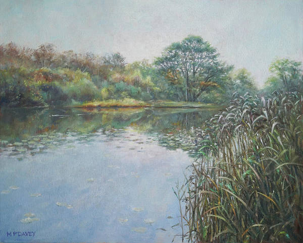 Painting - Evening At Southampton Common Lake by Martin Davey