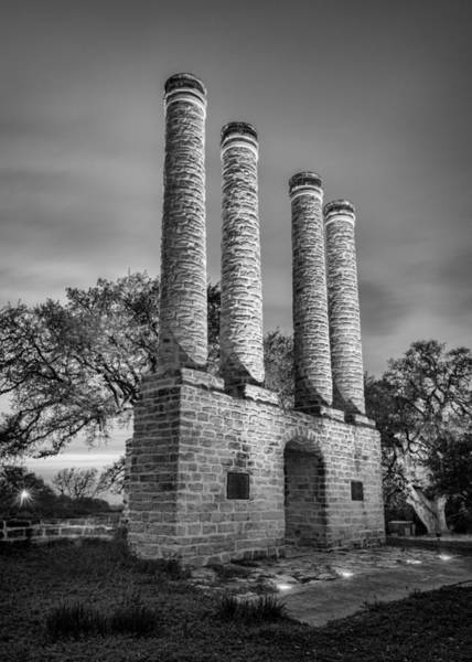 Wall Art - Photograph - Evening At The Columns In Black And White by Stephen Stookey