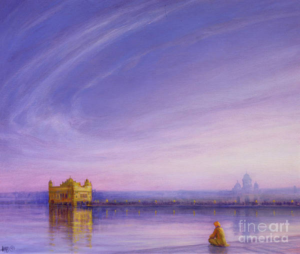Atmospheric Painting - Evening At The Golden Temple, Amritsar by Derek Hare