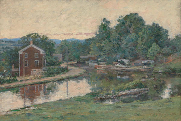Painting - Evening At The Lock, Napanoch, New York by Theodore Robinson