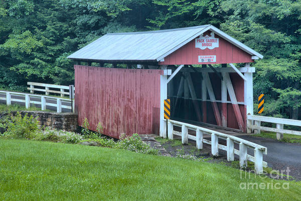 Somerset County Photograph - Evening At The Packsaddle Covered Bridge by Adam Jewell