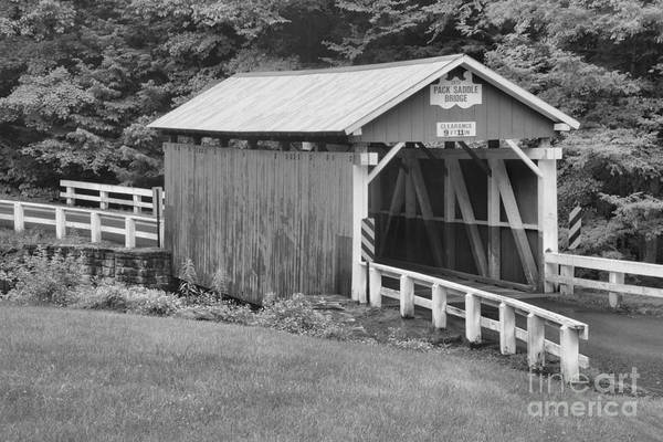 Somerset County Photograph - Evening At The Packsaddle Covered Bridge Black And White by Adam Jewell