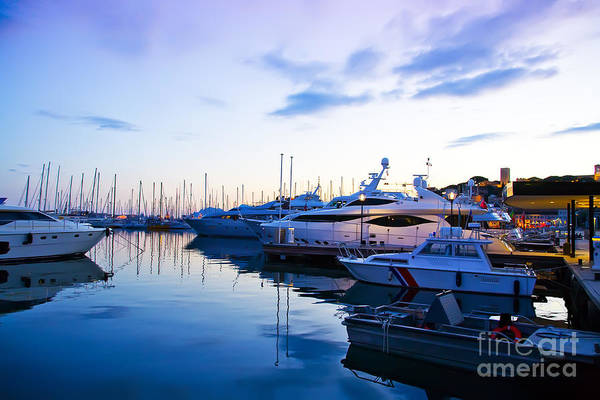evening at water in Cannes Art Print