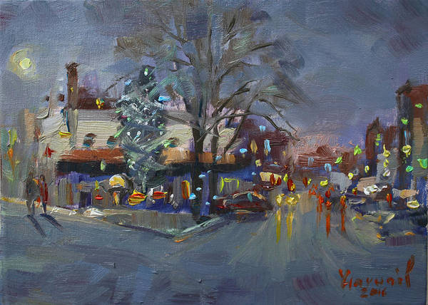 Christmas Tree Painting - Evening At Webster And Main St by Ylli Haruni
