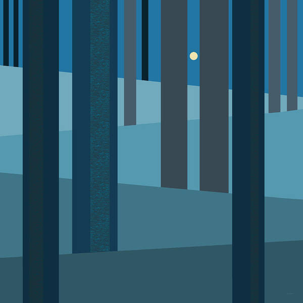 Evening Blues - Abstract Trees Art Print