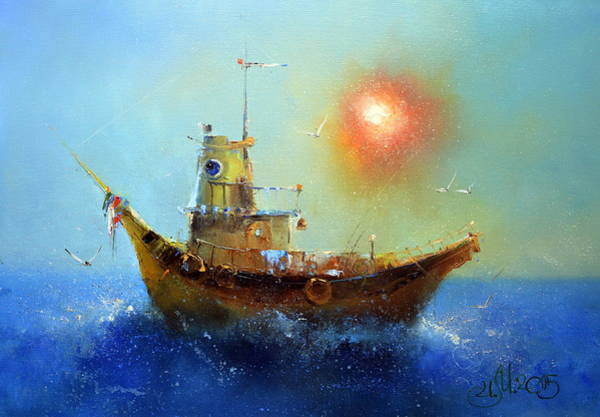 Painting - Evening Boat by Igor Medvedev
