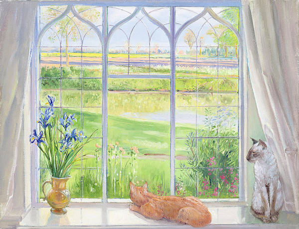 Siamese Cat Painting - Evening Breeze by Timothy Easton