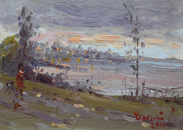 Wall Art - Painting - Evening By The River by Ylli Haruni
