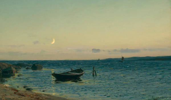 Norwegian Painting - Evening By The Sea by Amaldus Nielsen