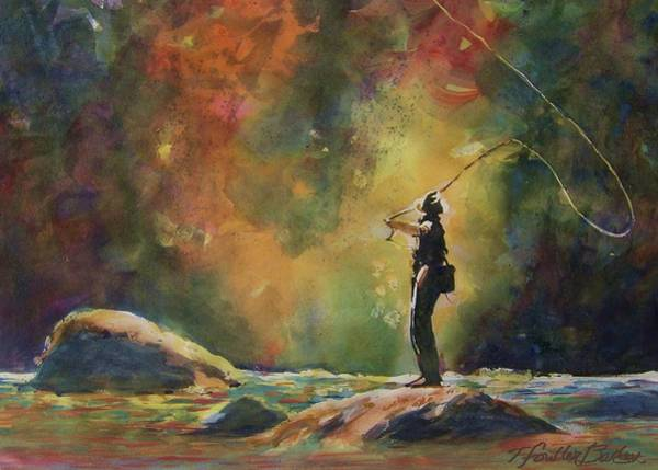 Fly Fishing Painting - Evening Cast by Therese Fowler-Bailey