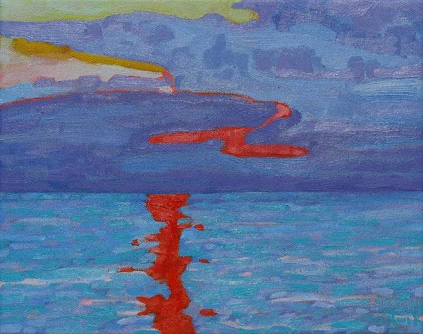 Lake Huron Painting - Evening Cold Front by Phil Chadwick