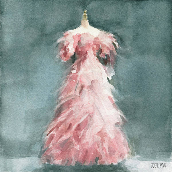 Wall Art - Painting - Evening Dress With Pink Feathers by Beverly Brown