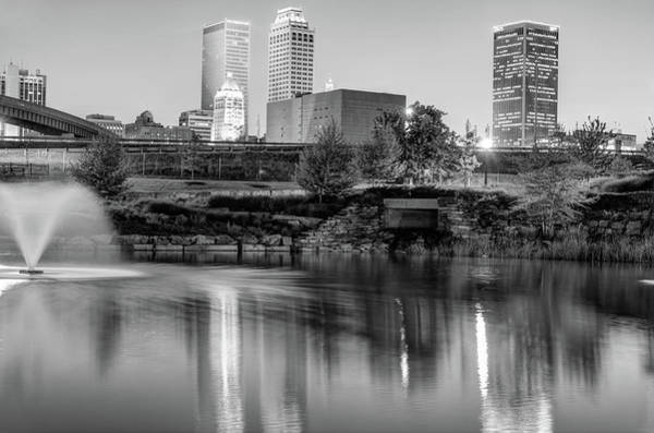 Centennial Photograph - Evening Falls On Tulsa Skyline Black And White by Gregory Ballos