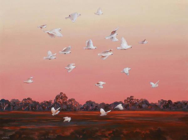 Wall Art - Painting - Evening Flight by Ekaterina Mortensen