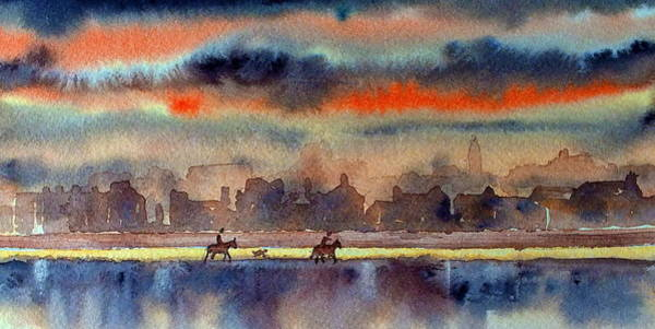Painting - Evening Gallup On Sandymount Strand, Dublin by Val Byrne