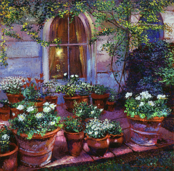 Wall Art - Painting - Evening Garden Patio by David Lloyd Glover