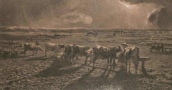 Drawing - Evening by Giovanni Segantini