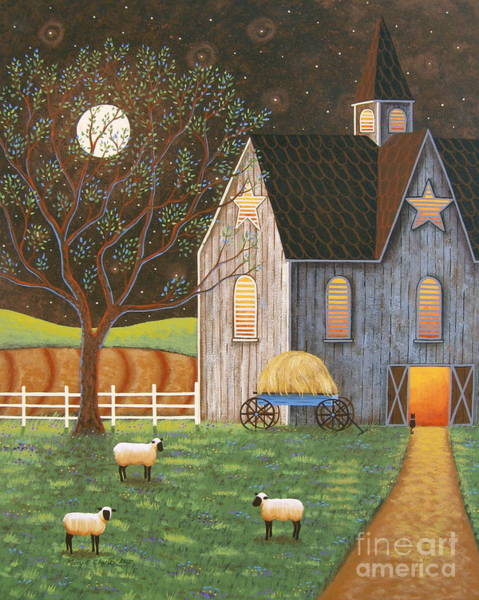 Moonlit Wall Art - Painting - Evening Glow by Mary Charles