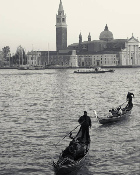 Photograph - Evening Gondoliers, Venice, Italy by Richard Goodrich