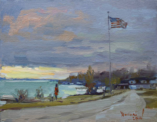 Waterscape Painting - Evening In Gratwick Waterfront Park by Ylli Haruni