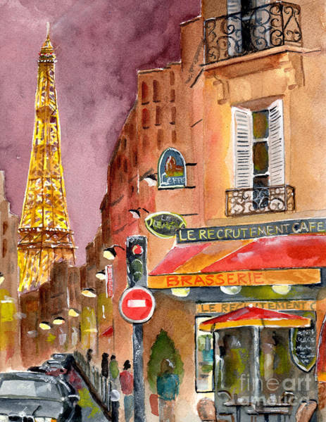 Cafes Wall Art - Painting - Evening In Paris by Sheryl Heatherly Hawkins