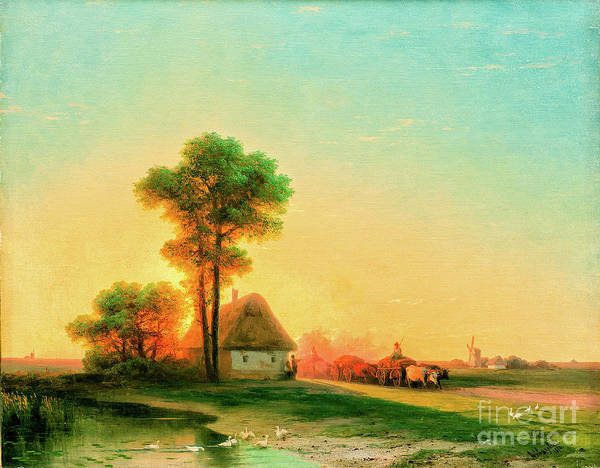 Wall Art - Painting - Evening In The Ukraine by Viktor Birkus