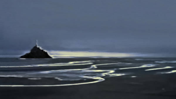Painting - Evening Light In The Bay Of Mont Saint Michel by Menega Sabidussi