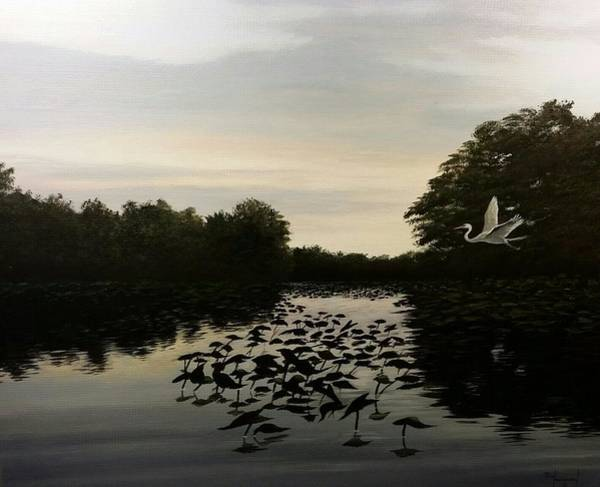 Wall Art - Painting - Evening On Big Mill Pond by Paul Makuchal