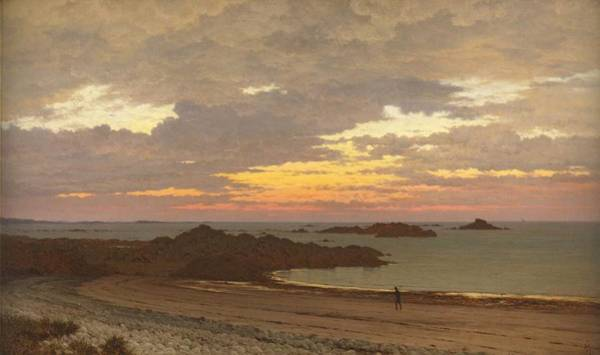 Meyer Painting - Evening On The Coast by Frederick William