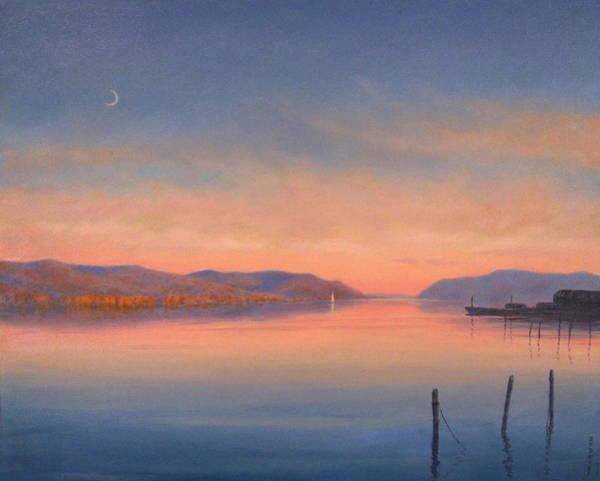 Wall Art - Painting - Evening On The Hudson by Barry DeBaun
