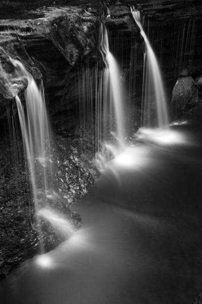 Triple Falls Photograph - Evening Plunge Waterfall Black And White by John Stephens