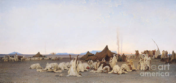 Kneeling Painting - Evening Prayer In The Sahara by Gustave Guillaumet