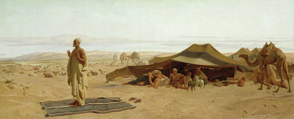 Encampment Wall Art - Painting - Evening Prayer In The West by Frederick Goodall