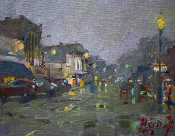 St Painting - Evening Rain At Webster St by Ylli Haruni