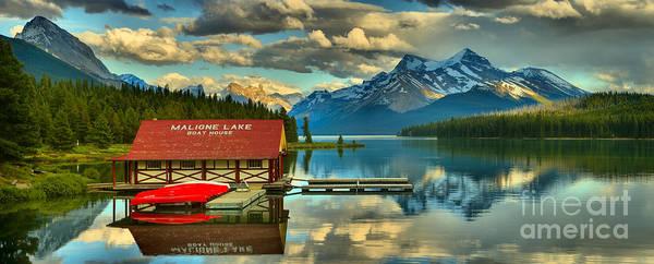 Photograph - Evening Reflections At Maligne Lake Panorama by Adam Jewell