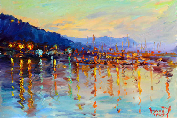 Hudson Painting - Evening Reflections In Piermont Dock by Ylli Haruni