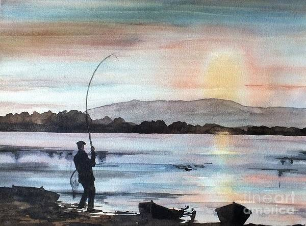Painting - F 798 Evening Rise, Lough Mask, Mayo by Val Byrne