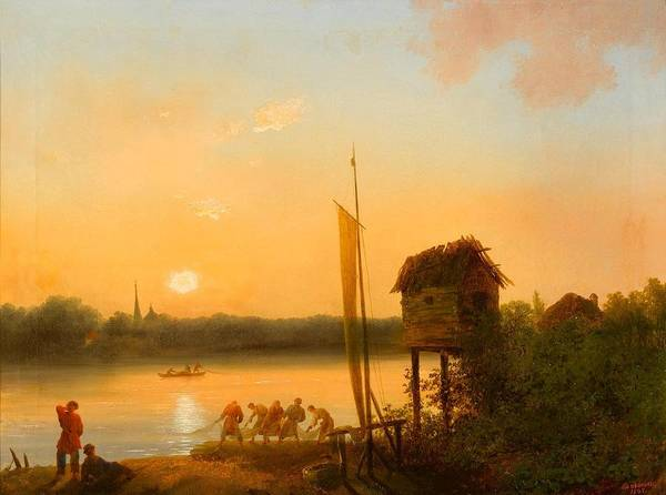 Russian River Painting - Evening Riverscape by MotionAge Designs