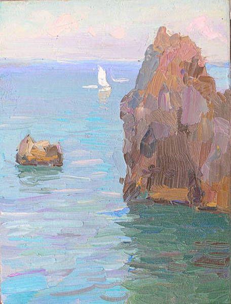 Russian Impressionism Wall Art - Painting - Evening. Rocks by Gregory Gamaley
