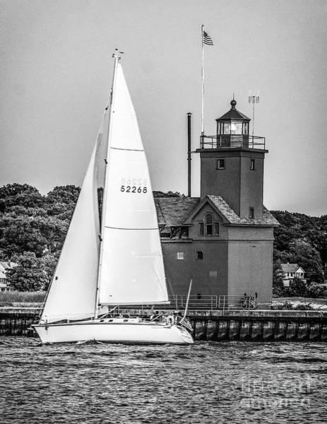 Evening Sail At Holland Light - Bw Art Print