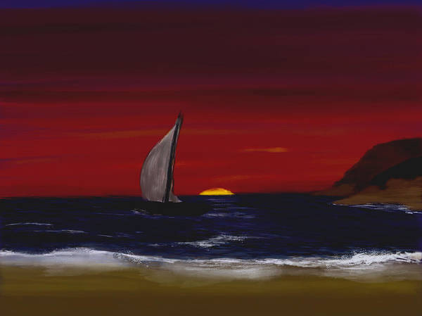 Digital Art - Evening Sail by Dick Bourgault